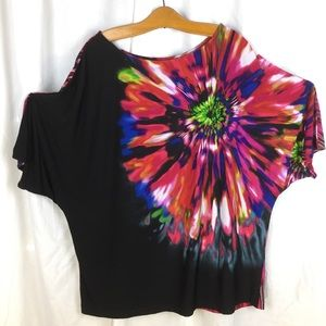 Investments black top with large flower print XL